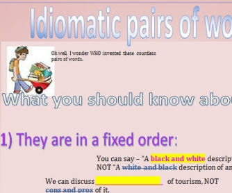 Idiomatic Pairs of Words Connected with AND, OR, BUT