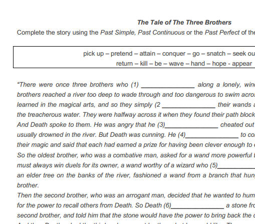 Tale Of The Three Brothers Harry Potter – Harry Potter Worksheets