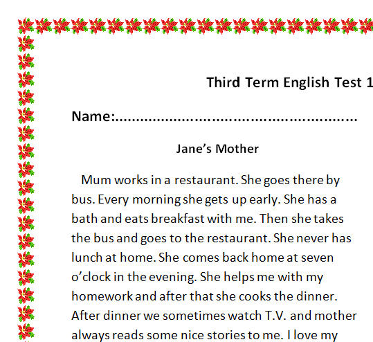 reading comprehension test elementary pdf