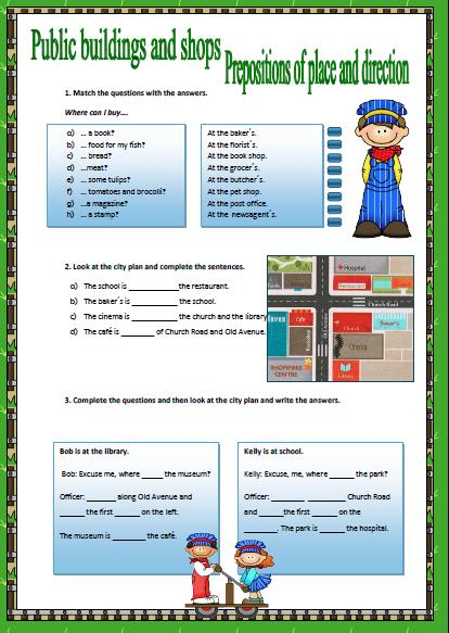 Elementary Classroom Management Plan ~ Prepositions of place and direction worksheet