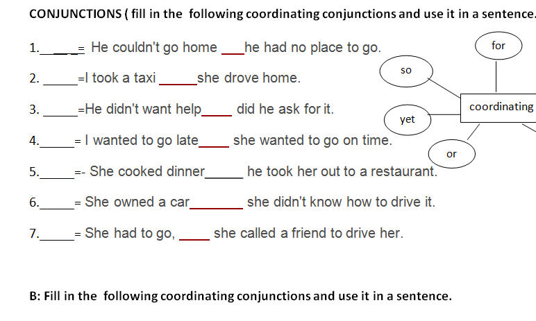 Printables Fanboys Grammar Worksheet conjunctions this is a worksheet that may help students in the class we did it as seatwork after discussing coordinating conjunction and subordinating