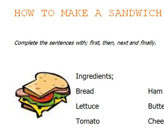 How To Make A Sandwich Instructions Worksheet