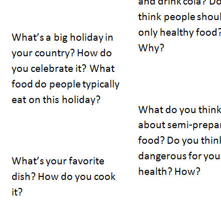 Topics To Speak About: Food