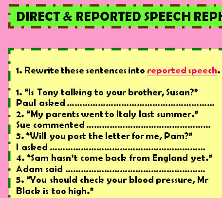 Reported Speech Reported Speech Worksheet IV Write What Kate Said ...