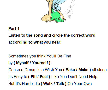 Worksheet: The Gift of a Friend by Demi Lovato