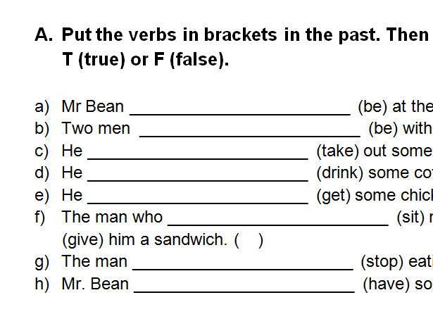 Video Worksheet Mr Bean S Sandwich