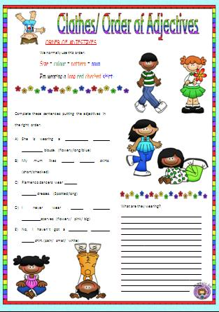 Clothes worksheet for grade 1 pdf