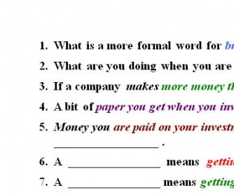 Money Makes The World Go Round: Money Vocabulary Worksheet
