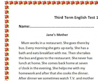 My Mother's Day: Reading Comprehension Test