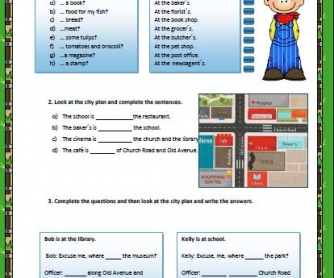 Prepositions of Place and Direction Worksheet