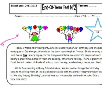 Birthday Party [End of Term Test]
