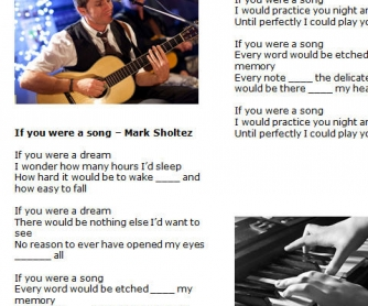 5 Song Worksheets: If You Were A Song by Mark Sholtez
