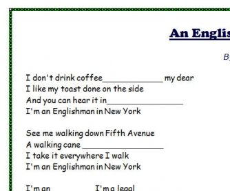 Song Worksheet: An Englishman in New York by Sting