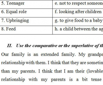 Family Life Worksheet