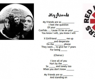 Song Worksheet: My Friends by Red Hot Chili Peppers