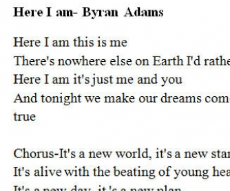 Song Worksheet: Here I Am....This Is Me by Bryan Adams