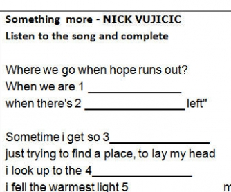 Song Worksheet: Something More by Nick Vujicic