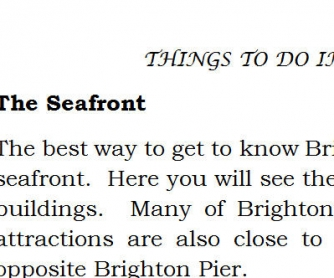 Things To Do In Brighton: Reading Worksheet