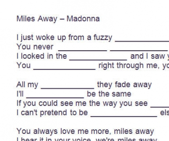 Song Worksheet: Miles Away by Madonna