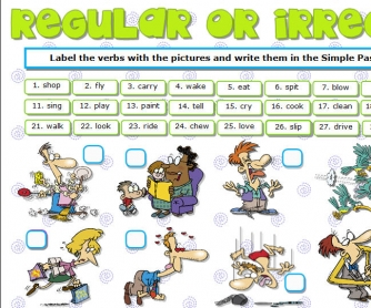 Regular Or Irregular? Actions Verbs Worksheet