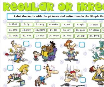 Regular Or Irregular? Actions Verbs Worksheet