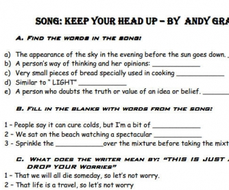 Song Worksheet: Keep Your Head Up by Andy Grammer