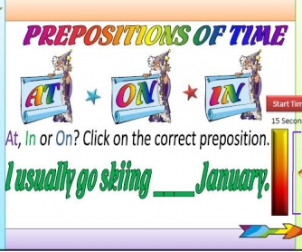 Prepositions of Time Multiple Choice Activity