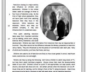 Children and Watching TV: Reading Worksheet