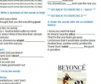Song Worksheet: Best Thing I Never Had by Beyonce