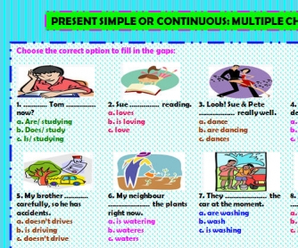 Simple or Continuous Present: Multiple Choice