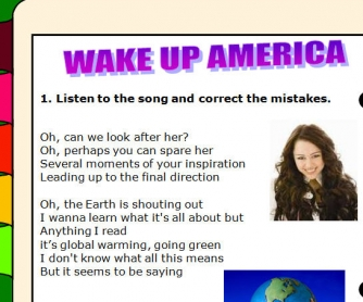 Song Worksheet: Wake Up America by Miley Cyrus