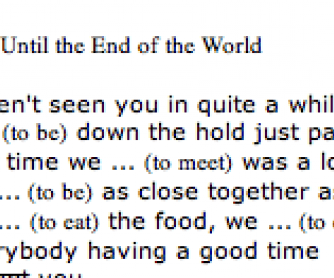 Song Worksheet: Until the End of the World