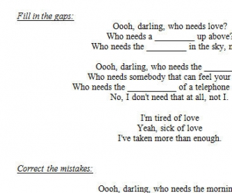 Song Worksheet: Who Needs Love? by Razorlight