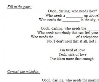 Song Worksheet: Who Needs Love? by Razorlight