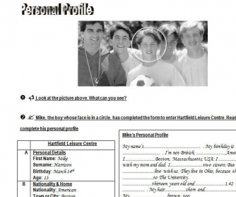 Personal Profile: Simple Present Worksheet