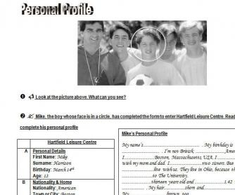 Personal Profile: Simple Present Worksheet