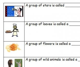 Collective Nouns for Grade 6