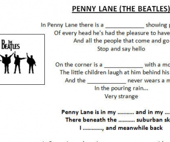 Song Worksheet: Penny Lane by the Beatles