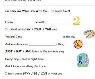 Song Worksheet: I'm Only Me When I'm With You by Tailor Swift