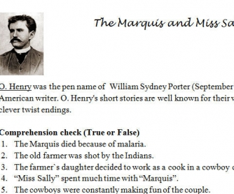 The Marquis and Miss Sally: Short Story Worksheet [O. Henry]