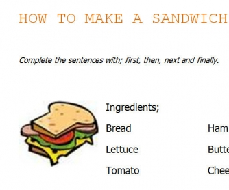 How To Make A Sandwich: Instructions Worksheet
