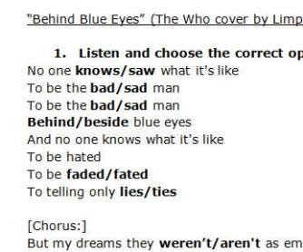 Song Worksheet: Behind Blue Eyes by Limp Bizkit