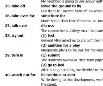 Common English Reading Passages: Phrasal Verbs List