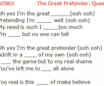 Song Worksheet: The Great Pretender by Queen