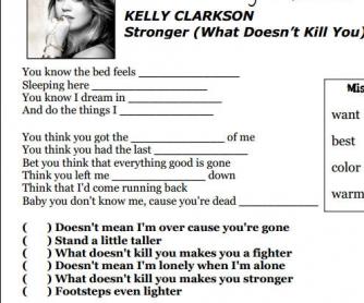 Song Worksheet: Stronger by Kelly Clarkson [Alternative]