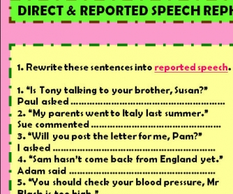 Direct & Reported Speech Rephrasing
