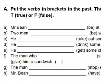 Video Worksheet: Mr Bean's Sandwich