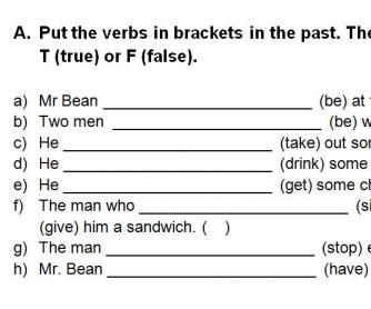 Video Worksheet: Mr Bean's Sandwich