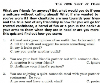 A True Test of Friendship