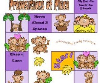 Prepositions Of Place Elementary Boardgame